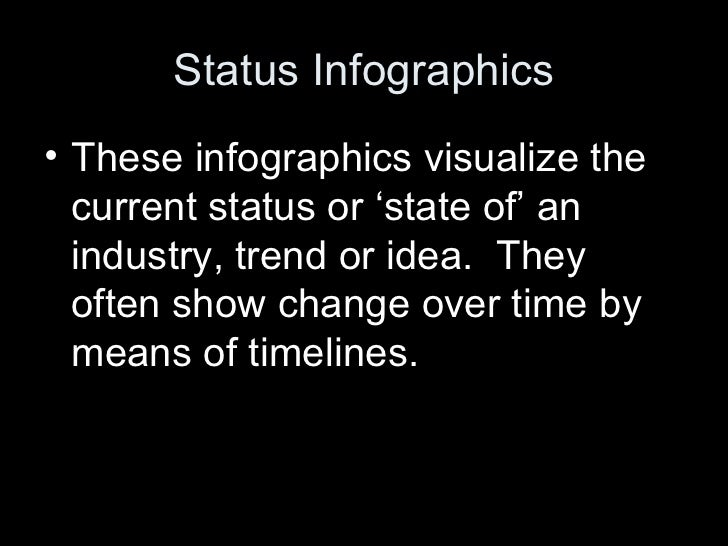 Status Infographics• These infographics visualize the  current status or 'state of' an  industry, trend or idea. They  oft...