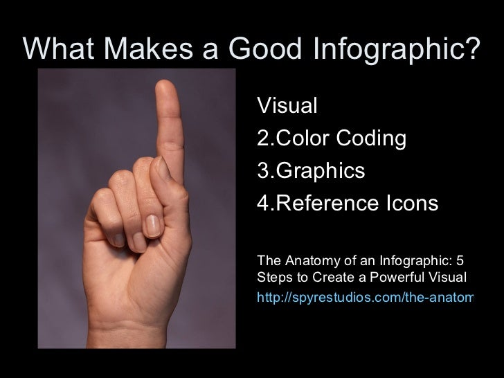 What Makes a Good Infographic?               Visual               2.Color Coding               3.Graphics               4....