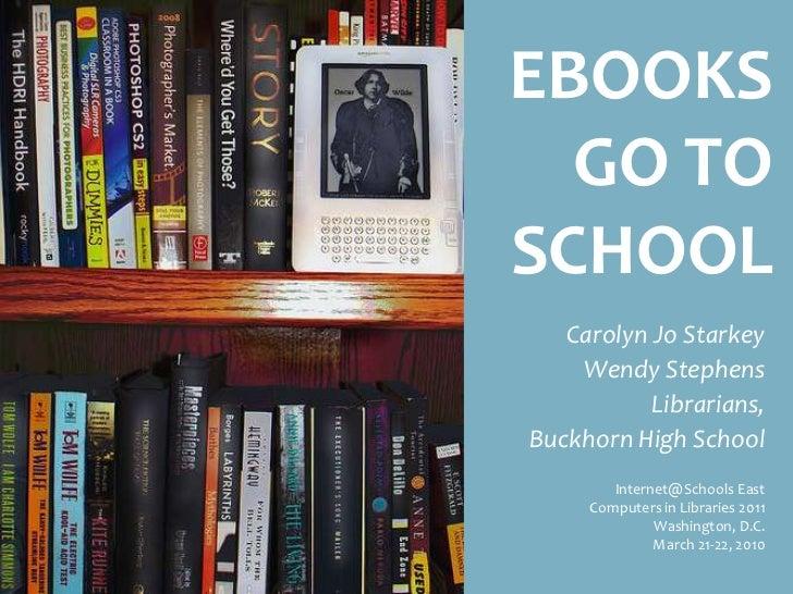 EBOOKS GO TO SCHOOL Carolyn Jo Starkey Wendy Stephens Librarians, Buckhorn High School Internet@Schools East Computers in ...