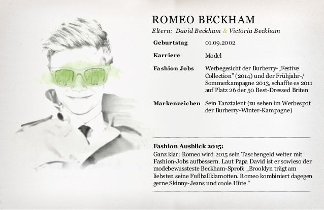 Eltern: Fashion Ausblick 2015: Ganz klar: Romeo wird 2015 sein Taschengeld weiter mit Fashion-Jobs aufbessern. Laut Papa D...