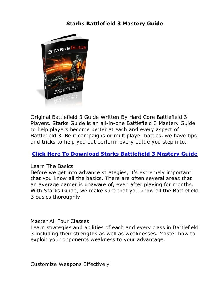 Starks Battlefield 3 Mastery Guide Review. Does Starks Battlefield 3 Mastery Guide Actually Work?