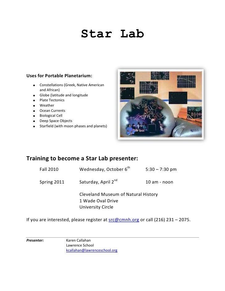Star Lab<br />3162300191770<br />Uses for Portable Planetarium:  <br /><ul><li>Constellations (Greek, Native American and ...