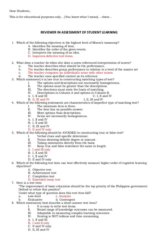 Dear Students,This is for educational purposes only….(You know what I mean)… ehem…                      REVIEWER IN ASSESS...