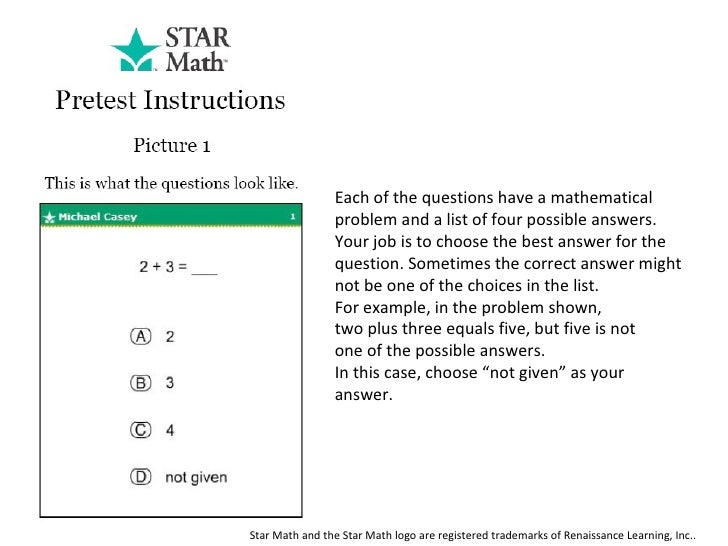 each of the questions have a mathematical problem and a list of four possible answers