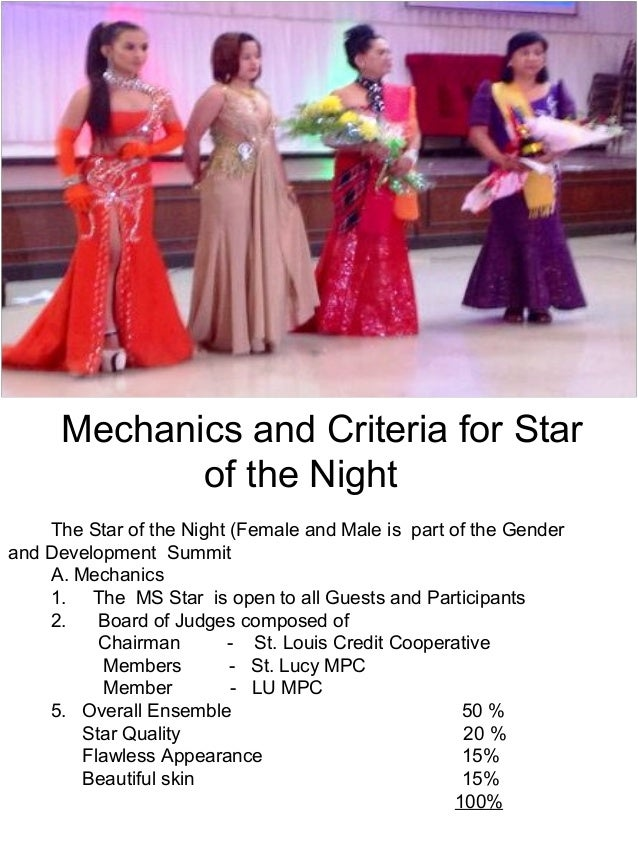 Mechanics and Criteria for Star  of the Night  The Star of the Night (Female and Male is part of the Gender  and Developme...