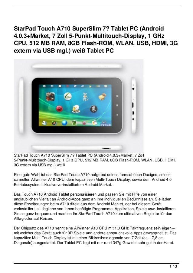 StarPad Touch A710 SuperSlim 7? Tablet PC (Android4.0.3+Market, 7 Zoll 5-Punkt-Multitouch-Display, 1 GHzCPU, 512 MB RAM, 8...