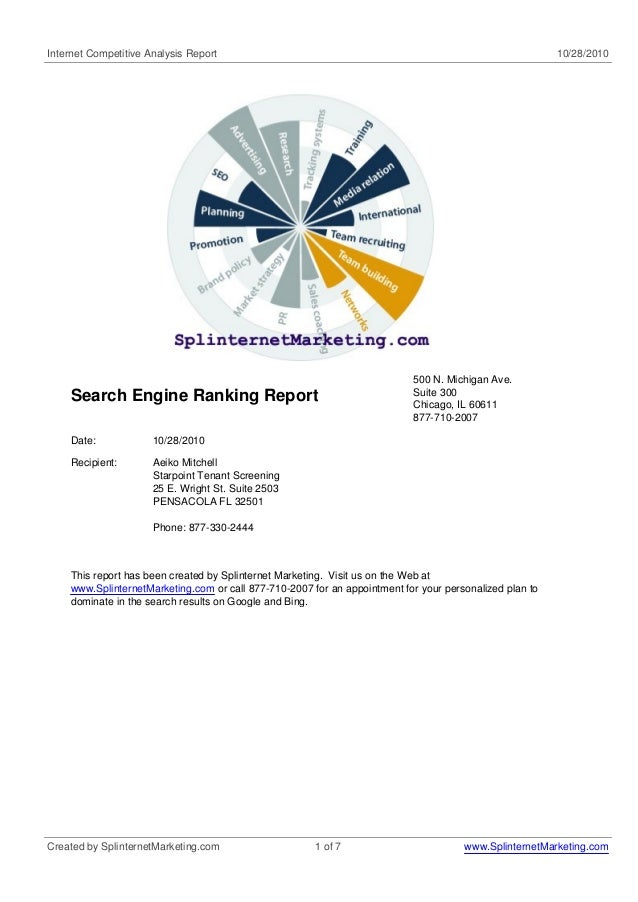 Internet Competitive Analysis Report 10/28/2010 Search Engine Ranking Report 500 N. Michigan Ave. Suite 300 Chicago, IL 60...