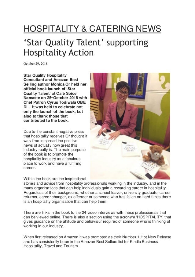 Star Quality Talent' supporting Hospitality Action - Hotel and Cater…