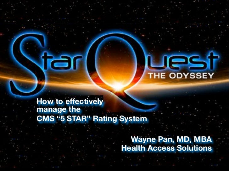 """How to effectivelymanage theCMS """"5 STAR"""" Rating System                     Wayne Pan, MD, MBA                   Health Acc..."""
