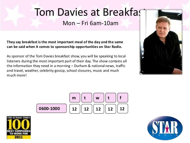 Tom Davies at BreakfastMon – Fri 6am-10am<br />They say breakfast is the most important meal of the day and the same can b...