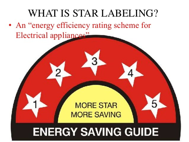 Star rating of home appliances for 5 star energy