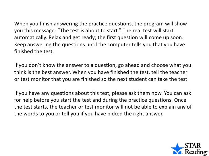 Star Reading Pre Test Instructions