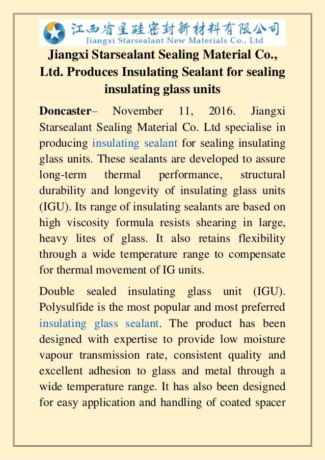 Starsealant com produces insulating sealant for sealing