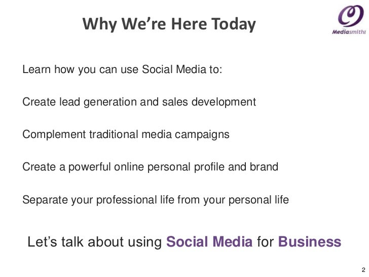 Social Media: How to use it to your advantage  Slide 2