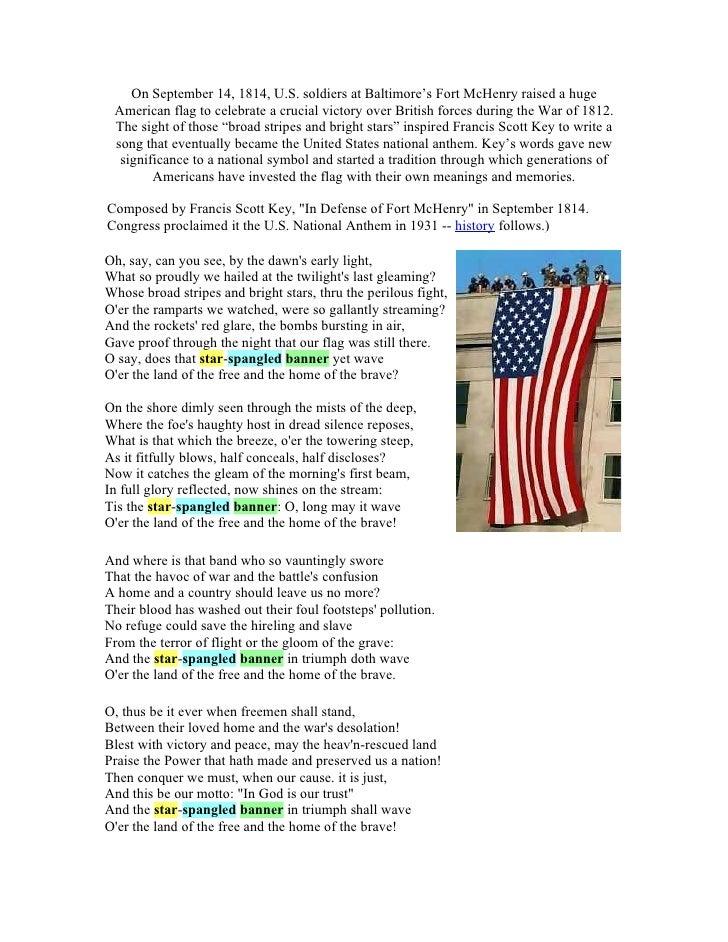 Lyric star banner lyrics : Star Spangled Banner Lyrics For Kids images