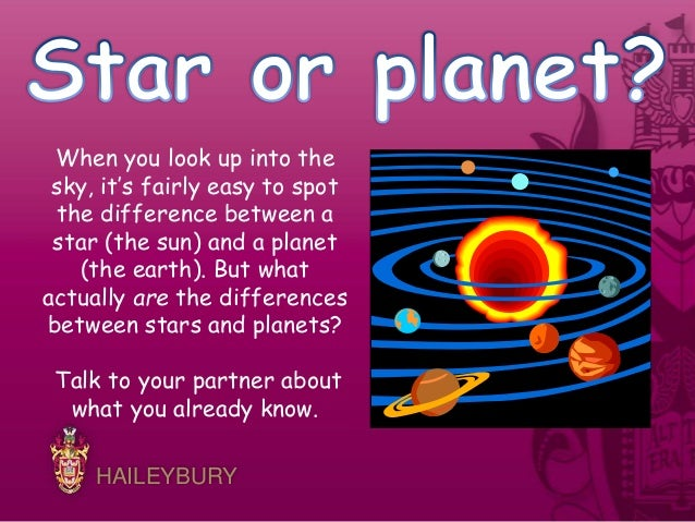 Comparing stars and planets.