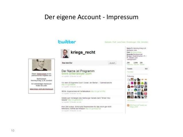 10 Der eigene Account - Impressum