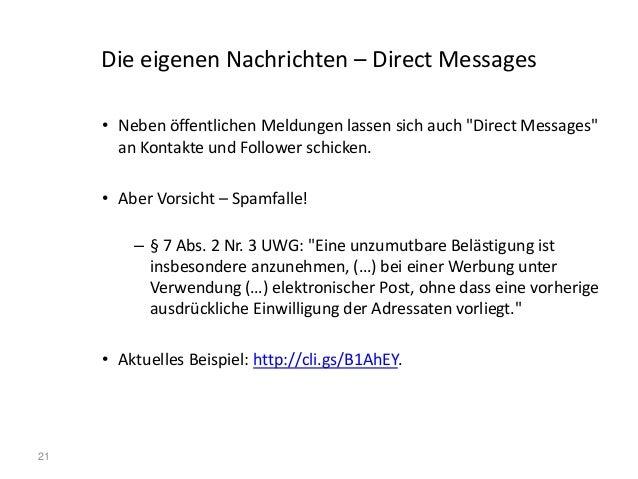 """21 Die eigenen Nachrichten – Direct Messages • Neben öffentlichen Meldungen lassen sich auch """"Direct Messages"""" an Kontakte..."""