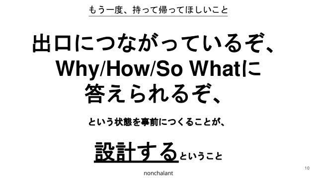 もう一度、持って帰ってほしいこと 出口につながっているぞ、 Why/How/So Whatに 答えられるぞ、 という状態を事前につくることが、 設計するということ 10