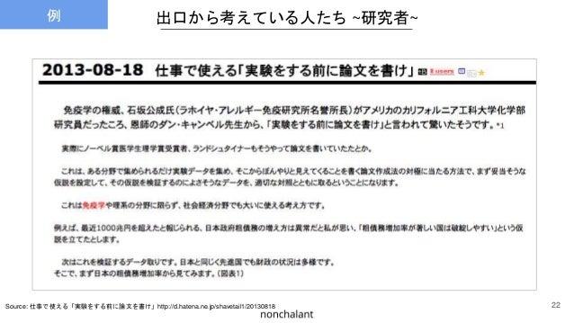出口から考えている人たち ~研究者~ Source: 仕事で使える「実験をする前に論文を書け」http://d.hatena.ne.jp/shavetail1/20130818 22 例