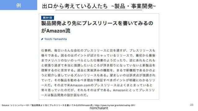 出口から考えている人たち ~製品・事業開発~ Source: シリコンバレー101「製品開発より先にプレスリリースを書いてみるのがAmazon流」https://news.mynavi.jp/article/svalley-391/ 23 例