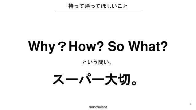 持って帰ってほしいこと Why?How? So What? という問い、 スーパー大切。 5