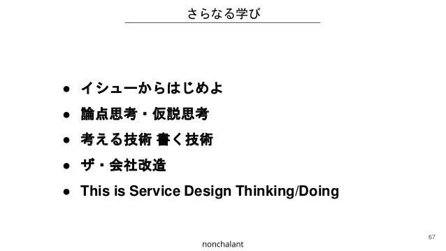 ● イシューからはじめよ ● 論点思考・仮説思考 ● 考える技術 書く技術 ● ザ・会社改造 ● This is Service Design Thinking/Doing さらなる学び 67