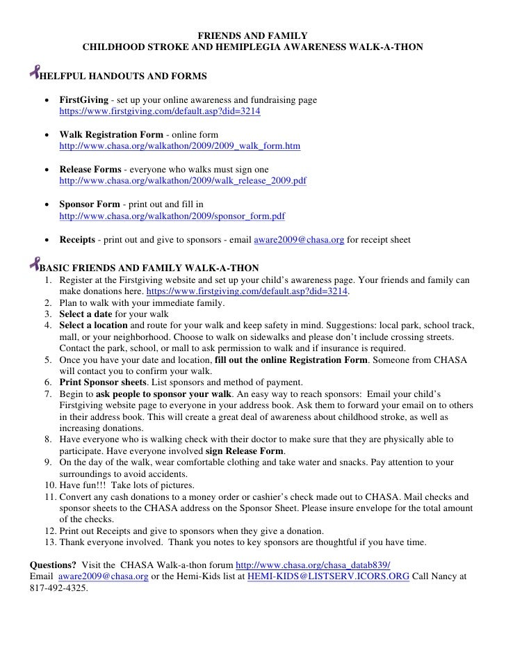 FRIENDS AND FAMILY             CHILDHOOD STROKE AND HEMIPLEGIA AWARENESS WALK-A-THON    HELFPUL HANDOUTS AND FORMS     •  ...