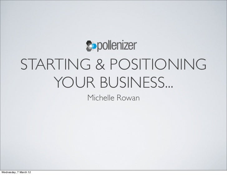 STARTING & POSITIONING                 YOUR BUSINESS...                        Michelle RowanWednesday, 7 March 12