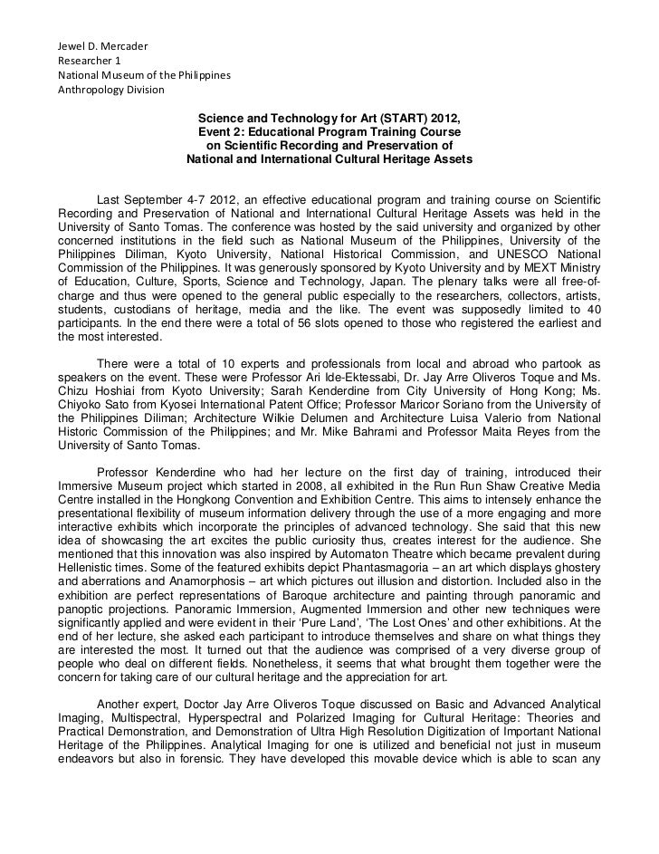 Jewel D. MercaderResearcher 1National Museum of the PhilippinesAnthropology Division                           Science and...