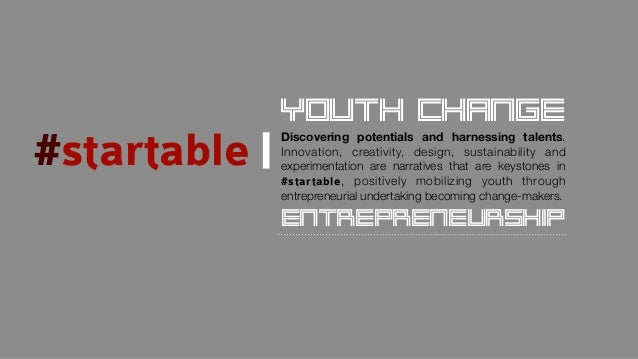#startable Discovering potentials and harnessing talents. Innovation, creativity, design, sustainability and experimentati...