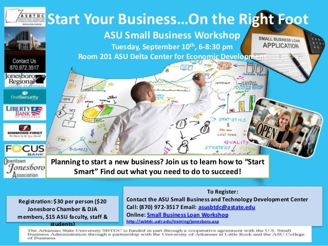 Start Your Business…On the Right Foot ASU Small Business Workshop Tuesday, September 10th, 6-8:30 pm Room 201 ASU Delta Ce...