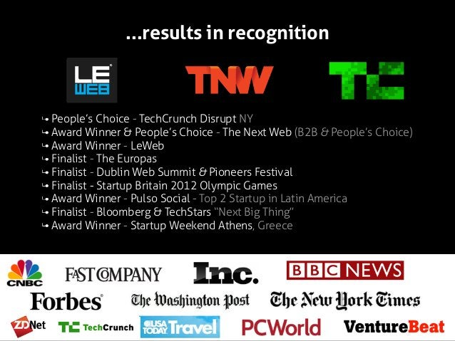 ...results in recognition  People's Choice - TechCrunch Disrupt NY Award Winner & People's Choice - The Next Web (B2B & Pe...