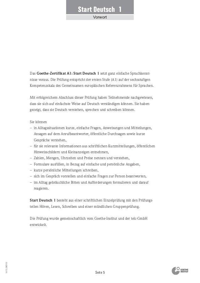 Beispiel goethe-zertifikat a1 prüfung deutsch modellsatz start 1- Goethe institut