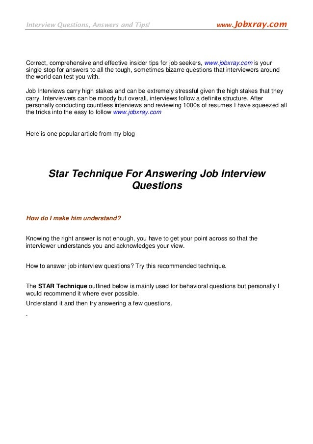 Interview Questions, Answers And Tips! Www.Jobxray.