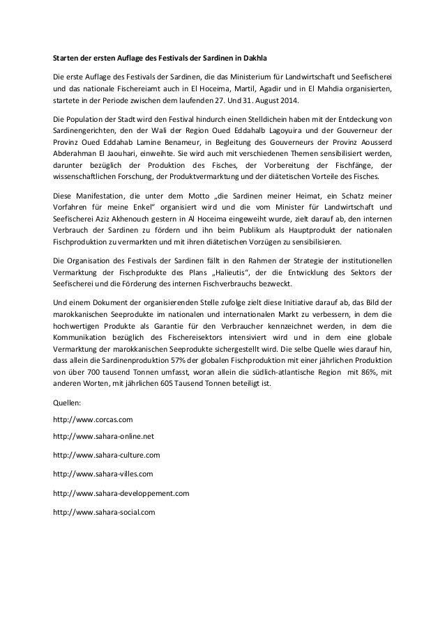 Starten der ersten Auflage des Festivals der Sardinen in Dakhla Die erste Auflage des Festivals der Sardinen, die das Mini...