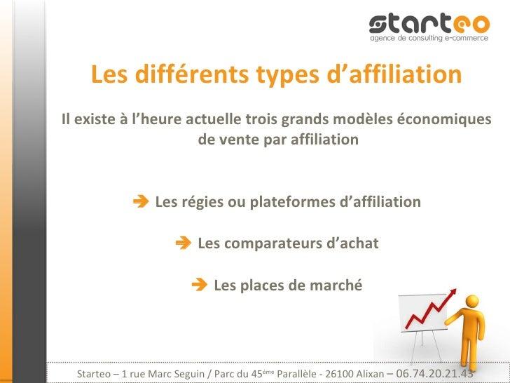 Les différents types d'affiliation Il existe à l'heure actuelle trois grands modèles économiques  de vente par affiliation...