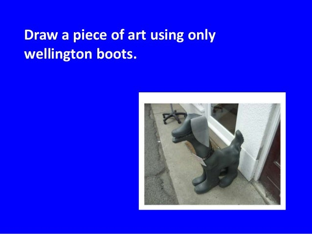Draw a piece of art using onlywellington boots.
