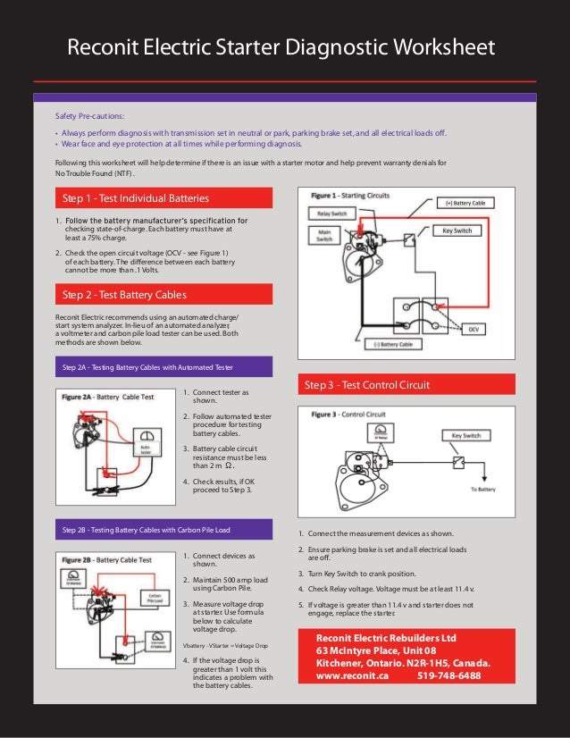 Reconit Electric Starter Diagnostic Worksheet Safety Pre-cautions: • Always perform diagnosis with transmission set in neu...
