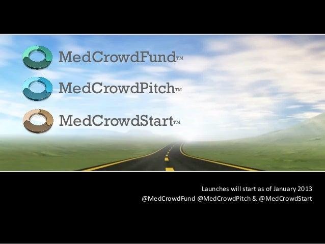 MedCrowdFund            TMMedCrowdPitch           TMMedCrowdStart          TM                           Launches will ...