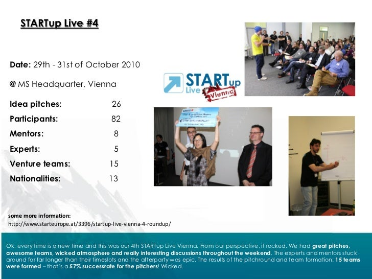 STARTup Live #4 Date: 29th - 31st of October 2010 @ MS Headquarter, Vienna Idea pitches:                        26 Partici...