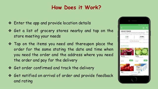 How Does it Work? ❖ Enter the app and provide location details ❖ Get a list of grocery stores nearby and tap on the store ...