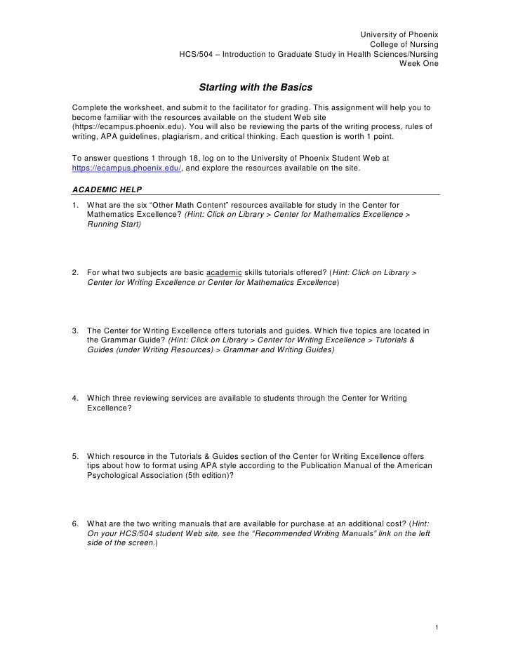 Starting with the Basics<br />Complete the worksheet, and submit to the facilitator for grading. This assignment will help...