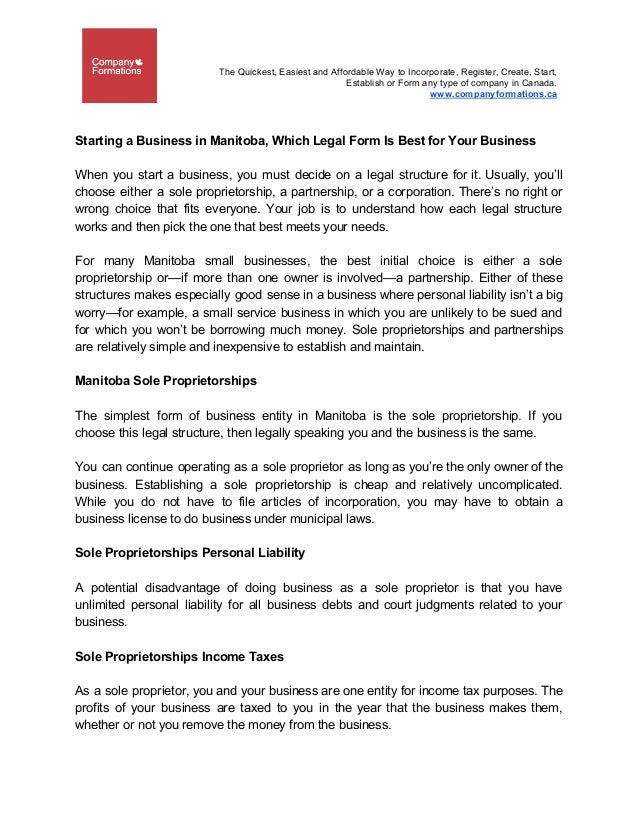 Starting A Business In Manitoba Which Legal Form Is Best For Your Bu - Corporation legal form
