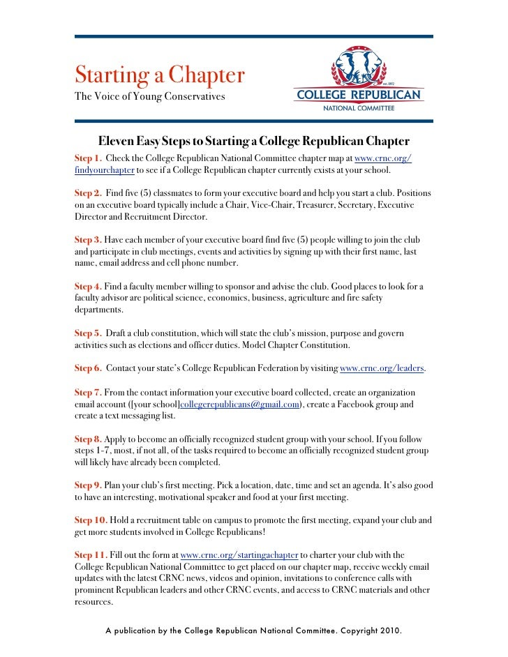 Starting a Chapter The Voice of Young Conservatives         Eleven Easy Steps to Starting a College Republican Chapter Ste...