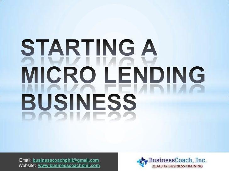 Starting Your Own Money Lending Business