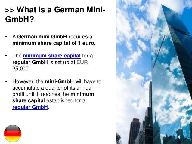 Minimum Gmbh starting a mini gmbh in germany