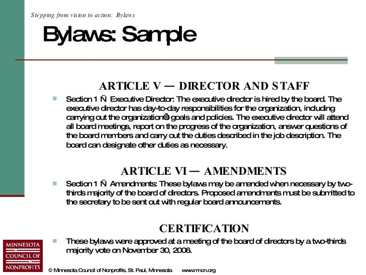 Starting A Nonprofit In Minnesota - Non profit association bylaws template