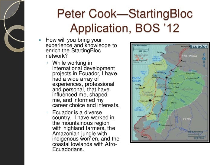 Peter Cook—StartingBloc          Application, BOS '12   How will you bring your    experience and knowledge to    enrich ...