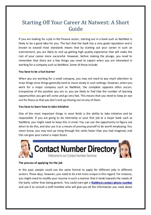 starting off your career at natwest a short guide rh slideshare net write a short guide to customer service Confidence Customer Service